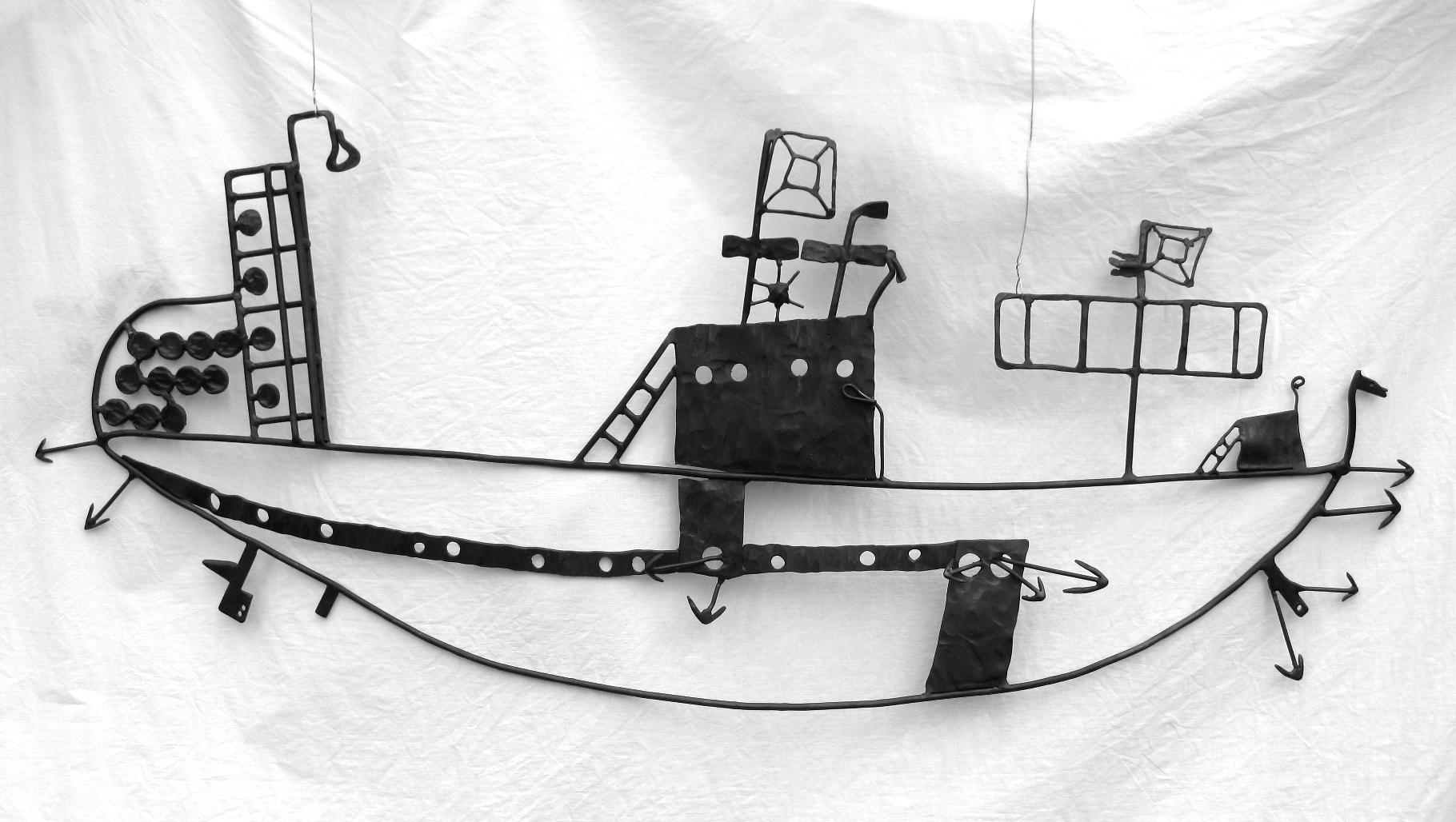 Handelsschiff - geschmiedet aus Eisen; 70*40cm